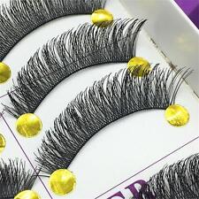 10 paires de maquillage faits à la main naturel épais croix faux cils eye lashes