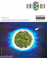 PUBLICITE ADVERTISING 075  2002  la montre DIAPHANE de SWATCH IRONY