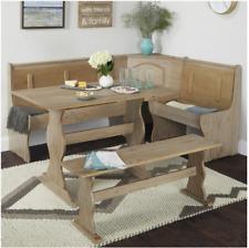 Simple Living Breakfast Nook Set 3 Piece 5 Seat Solid Pine Furniture Rustic Look