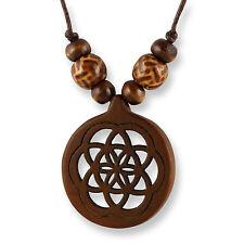 Halskette Design Anhänger Holz Amulett 3cm Blume des Lebens N289