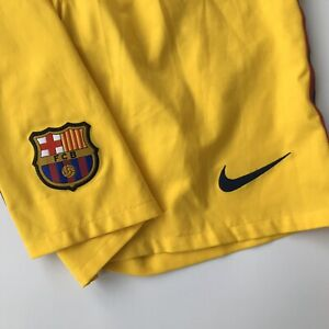 BARCELONA 2012 2013 AWAY FOOTBALL SOCCER SHORTS YELLOW sz S