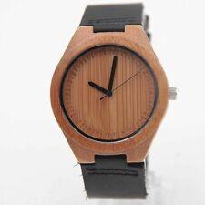 Armbanduhr Bambus Holz mit schwarzem Kunstleder-Armband Unisex