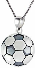 Nuevo 0.925 Plata de Ley 3D Pequeño Fútbol Bola Sports Collar con Colgante