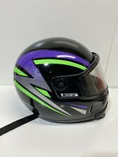 New ListingVintage Kbc Artic Cat Snowmobile Helmet Unisex Black Green Purple W/Shield Sz M