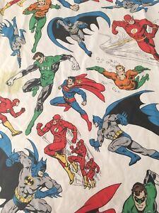 Pottery Barn Kids DC Comics Twin Flat Sheet 100% Cotton Batman Flash Superman