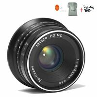 7artisans 25mm F1.8 Black Manual Focus Lens For Fuji X-Mount  X-T1/X-Pro1/X-A1