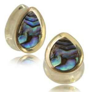 """PAIR 1"""" INCH ABALONE SHELL BRASS DROP EAR WEIGHTS PLUGS TUNNELS STRETCH GAUGE"""
