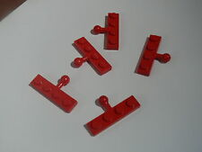Lego 5 attelages rouges set 590 218 6396 697 / 5 red plates w/ towball