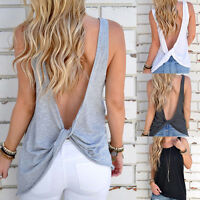 Sexy Women's Summer Sleeveless Backless Tee Shirt Casual Vest Tank Tops Blouse