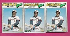 RARE 3 X 1977 OPC # 125 ORIOLES LEE MAY  CARD (INV# C2714)