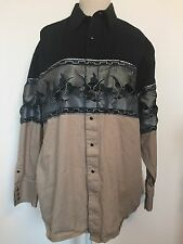Panhandle Slim Mens Western Shirt Sz L Flying Eagles Black Pearl Button Front