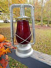 1914 New York Usa Dietz Monarch Lantern Deep Ruby Red GlobeLoc No. 8