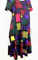 LulaRoe Women's Small Black Purple Red Pocket High Low Carly Knit Shirt Dress