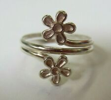 Solid 925 Sterling Silver Adjustable Toe Ring Double Ring Flower Design Jewelry