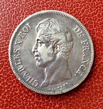 France - Charles X - Très Jolie monnaie de 5 Francs 1827 W - patine