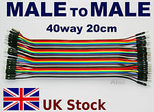 MALE to MALE 40way 20cm Jumper Wire Cable Breadboard Arduino Raspberry PI - UK