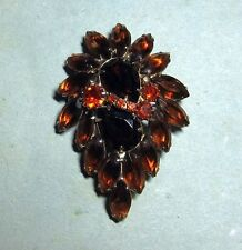 Vintage Signed Weiss Brown Amber Orange Rhinestone Brooch Pin D&E Open Back