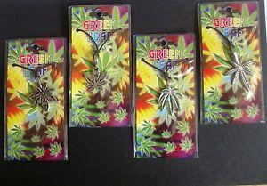 "Ganja Leaf Alloy Pendant Cord Necklace Length 18"" Unisex Cannabis Rasta Pendant"