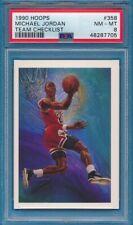1990 Hoops - MICHAEL JORDAN Team Checklist Basketball Card #358 - PSA 8 NM-MT