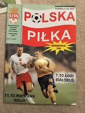 Polandv Wales Official Football Programme 2000 World Cup Qualifying