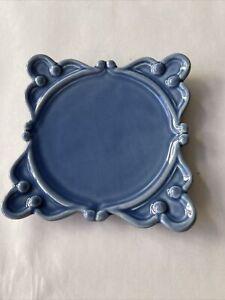 VINTAGE ANTHEOR FRANCE PLATE SQUARE CARCASSONNE BLUE
