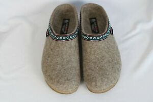 Haflinger GRIZZLY Oatmeal Tan Wool Slippers Clogs Mens Sz 44 / US 11