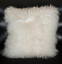 "Handmade Mongolian Fur 22""x22"" Square White Pillow Cushion 55X55cm & fabric back"