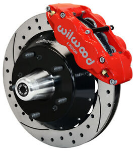 """WILWOOD DISC BRAKE KIT,FRONT,82-92 GM F-BODY,14"""" DRILLED ROTORS,6 PISTON RED"""