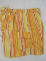 Tommy Bahama Mens Cotton Bright Yellow Orange Swim Shorts Size L
