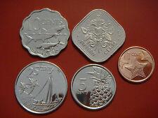 Bahamas 1 - 25 Cents X 5 Pieces (PCS) Coin Set, 2005-2015, KMS-2109, Mint