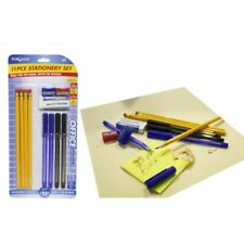 11pce Stationery Writing Set Pens, Pencils, Eraser and Shapners