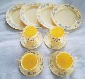 Vintage 12 Piece Ideal Childrens Kids Toy Tea Set Cups Saucers Plates Cream Blue