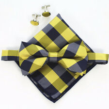 (B10)Classic Yellow Black Tartan Men Bowtie With Cufflinks Hanky Boy Bow Tie Set
