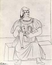 "Original 1955 Picasso Vintage Print ""Neapolitan Woman"" Book Plate"