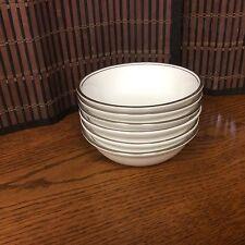 Royal Doulton bone china set of six white desert bowls with trim R18