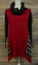 Style&Co Womens Cowl Neck Gray Striped Bridge Hem Tunic Sweater Red M FL043