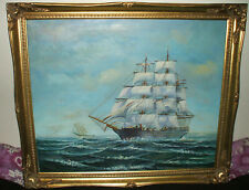 OIL ON CANVAS PAINTING OF A FULLY RIGGED TALL SHIP - SIGNED R. WALKER SEASCAPE
