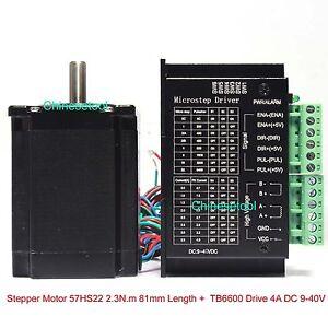 Stepper Motor 57HS22 2.3 N.m Length 81mm + Microstep Driver 0.5-4A DC 9-40V