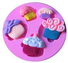 Cupcakes Dessert 5 Cavity Silicone Mold for Fondant Gum Paste and Chocolate NEW