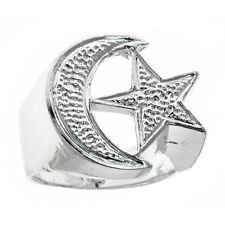 Men's .925 Sterling Silver Muslim / Islamic Crescent Moon & Star Ring (any size)
