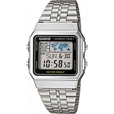Casio a500wea Uomo Digtial OROLOGIO CON WORLD TIME ACCIAIO INOX-NUOVO