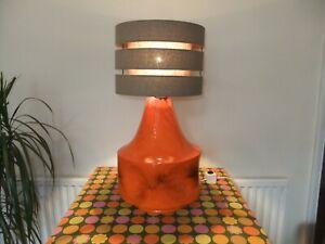 Vintage Retro 1960 1970's Mid Century Lava Pottery Lamp Orange West German Style