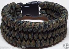 Mens Trilobite Style Wide Weave Woodland Camouflage Paracord Survival Bracelet