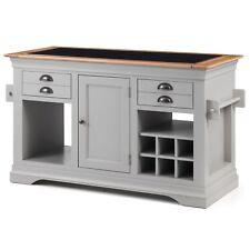 Alberta grey painted furniture large granite top kitchen island unit worktop