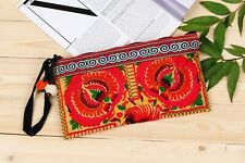 Yellow Peony Tribal Clutch Bag Made By Thai Hmong Embroidered Fair Trade