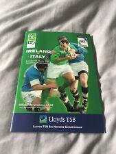2000 IRELAND V ITALY SIX NATIONS 1ST SEASON INTERNATIONAL RUGBY PROGRAMME VGC