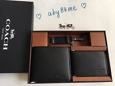 *NWT* Coach Men's Compact ID Sport Calf Leather Wallet Gift Set F64118 Black