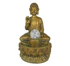 """Water Fountain w/ Led Lights Protection Buddha Zen Indoor Home Decor 11.5"""" New"""