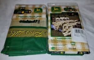 John Deere Collection Traditional Tractor and Plaid Pillow Sham Lot Of 2 NEW