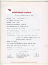 1968 St. Louis Football Cardinals Preliminary Information Sheet